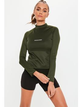 Active Khaki High Neck Long Sleeve Top by Missguided