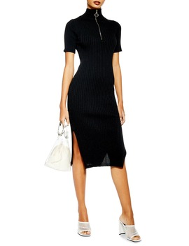 Ribbed Zip Up Sweater Dress by Topshop