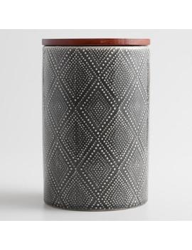 Large Gray Textured Diamond Ceramic Canister With Wood Lid by World Market
