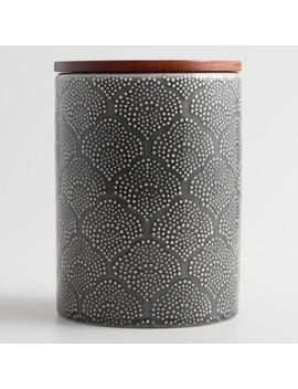 Medium Gray Textured Floral Ceramic Canister With Wood Lid by World Market