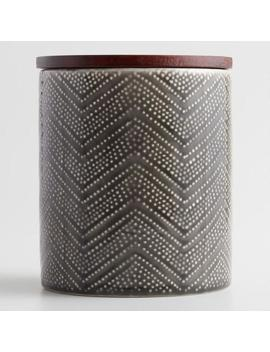 Small Gray Textured Zigzag Ceramic Canister With Wood Lid by World Market
