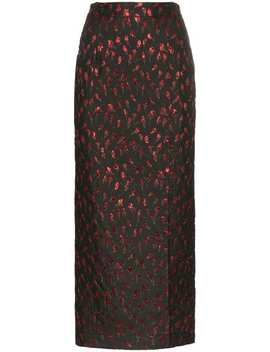 High Waist Rose Jacquard Midi Skirt by Attico
