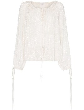 Balloon Sleeve Off Shoulder Sequin Blouse by Ashish