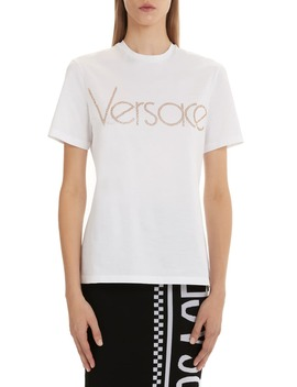 Versace Rhinestone Logo Tee by Versace First Line