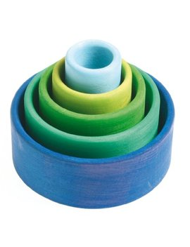 Grimm's Set Of 5 Small Wooden Stacking & Nesting Rainbow Bowls, Ocean Blue by Grimm's Spiel And Holz Design