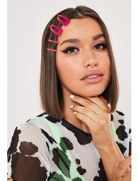 Neon Pink Hair Slide Multipack by Missguided