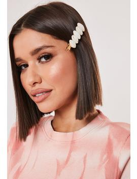 Cream Shell Hair Slide by Missguided