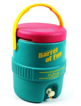 Vtg Igloo Barrel Of Fun Cooler And Dispenser Pink Teal Yellow 90s 80s Tested by Ebay Seller