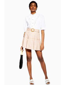 Pink Linen Blend Tiered Mini Skirt by Topshop