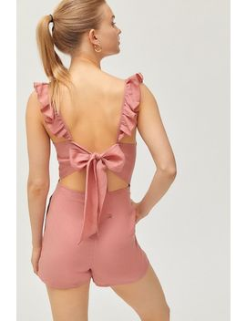 Uo Kai Ruffle Tie Back Romper by Urban Outfitters