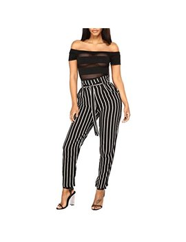 Good Lock Women High Waist Harem Pants Women Bowtie Elastic Waist Striped Casual Pants by Good Lock