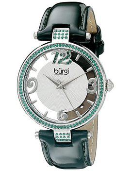 Burgi Women's Swarovski Crystal Accents Watch   Engraved Sunburst Guilloche Center Dial With See Thru Border On Leather Strap   Bur150 by Burgi