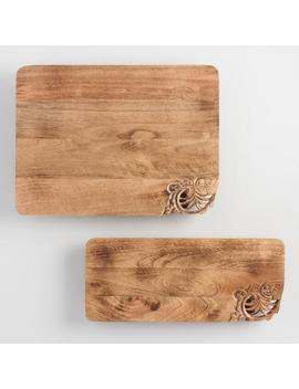 Carved Mango Wood Serving Tray With Feet by World Market