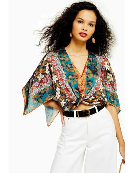 Scarf Print Knot Front Top With Tie by Topshop