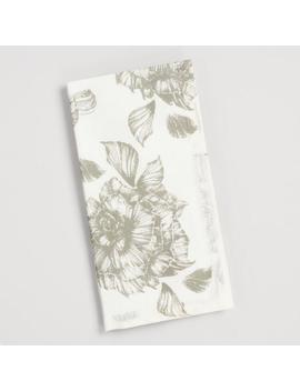 Gray Rose Print Napkins Set Of 4 by World Market