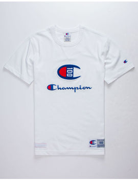 Champion Century Collection C100 Chenille Logo White Mens T Shirt by Champion