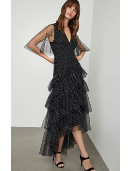 Flocked Dot Tiered Maxi Dress by Bcbgmaxazria