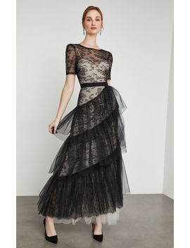 Asymmetrical Ruffle Lace Gown by Bcbgmaxazria