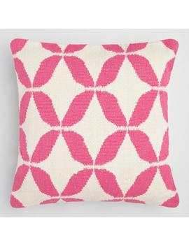 Pink Petals Woven Indoor Outdoor Throw Pillow by World Market