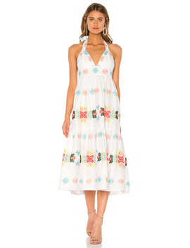 Embroidered Amelie Midi Dress by Milly