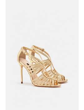 Caged High  Heel Sandals With Braded Strapsshoes Woman Shoes&Bags by Zara