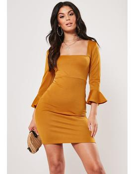 Mustard Frill Sleeve Square Neck Mini Dress by Missguided