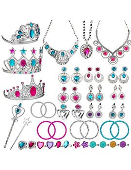 Watinc 46 Pack Princess Pretend Jewelry Toy,Girl's Jewelry Dress Up Play Set,Included Crowns, Necklaces,Wands, Rings,Earrings AndBracelets,46 Pack by Watinc