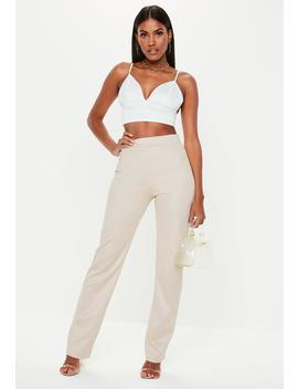 Stone Faux Suede Straight Leg Pants by Missguided