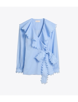Scalloped Cotton Wrap Shirt by Tory Burch