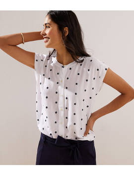 Dotted Dolman Cap Sleeve Shirt by Loft