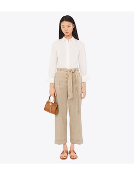 Cropped  Striped Pant by Tory Burch