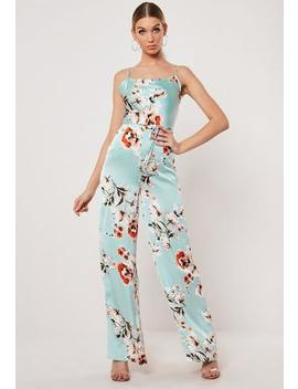 Blue Floral Cowl Wide Leg Jumpsuit by Missguided