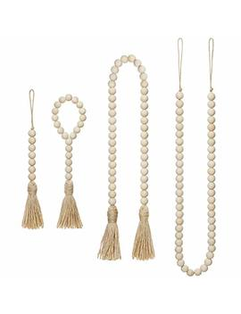 Mkono Wood Beads Garland With Tassels 4 Styles Prayer Beads Farmhouse Rustic Natural Wooden Bead String Wall Hanging For Baby Nursery Room Decor,Wedding Vase Ornament, Ivory by Mkono