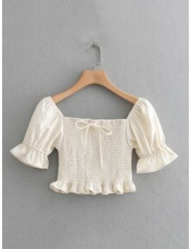 Knot Detail Frill Hem Shirred Blouse by Sheinside
