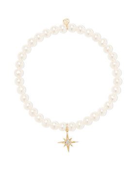 Starburst 14 Karat Gold, Pearl And Diamond Bracelet by Sydney Evan