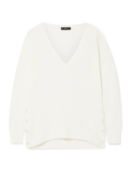 button-embellished-linen-blend-sweater by jcrew