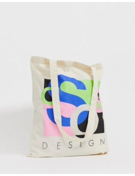asos-design-unisex-tote-bag-in-beige-with-abstract-asos-print by asos-design