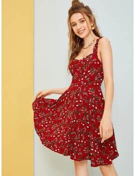 Floral Print Ruffle Trim Cami Dress by Romwe