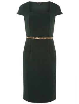 Green Square Neck Belted Pencil Dress by Dorothy Perkins