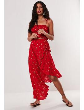 Red Ditsy Floral Co Ord Wrap Over Midi Skirt by Missguided