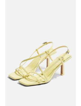 Strippy Lime Heeled Sandals by Topshop