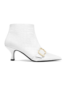 Sienna Croc Effect Glossed Leather Ankle Boots by Erdem