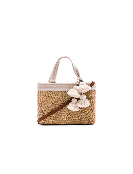 Sabai Mini Square Basket With Leather Handle by Jad Etribe