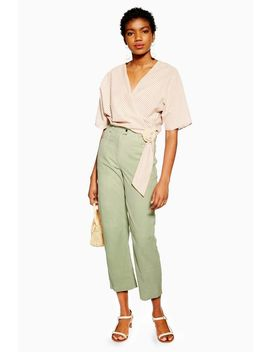Mint Suede Straight Leg Trousers by Topshop