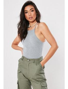 Grey 90s Neck Bodysuit by Missguided