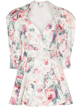 Floral Print Belted Stretch Cotton Dress by Attico