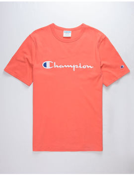 Champion Champion Script Embroidered Papaya Mens T Shirt by Champion
