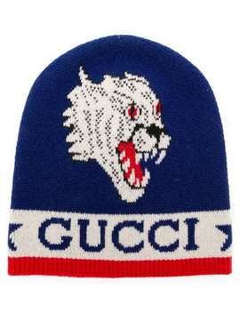 Knit Tiger Patch Beanie by Gucci