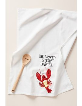 Kate Jenkins The World Is Your Lobster Dish Towel by Kate Jenkins