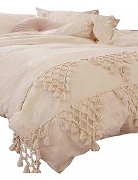 Flber Tufted Tassel Duvet Cover Lattice Boho Bedding,King Size, 96inx104in by Flber